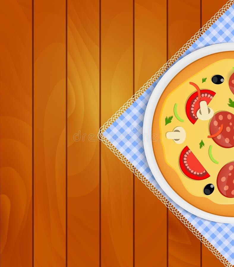 Pizza i den vita plattan på kökservett på träbräden Backgrou stock illustrationer