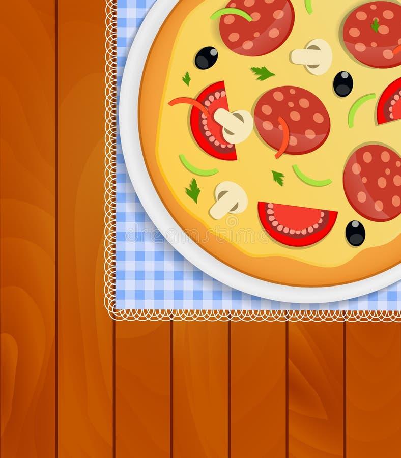 Pizza i den vita plattan på kökservett på träbräden Backgrou royaltyfri illustrationer