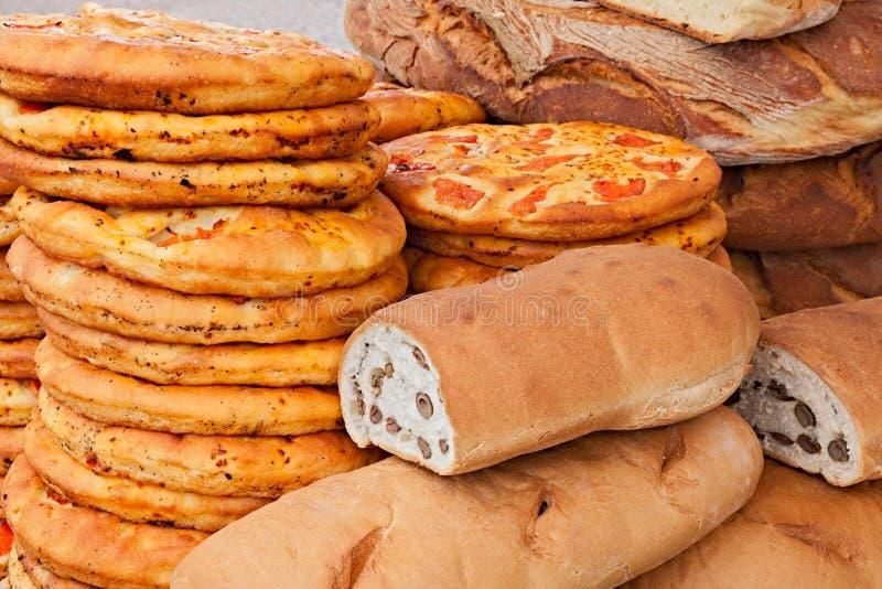 Włoski chleb i pizza obraz stock