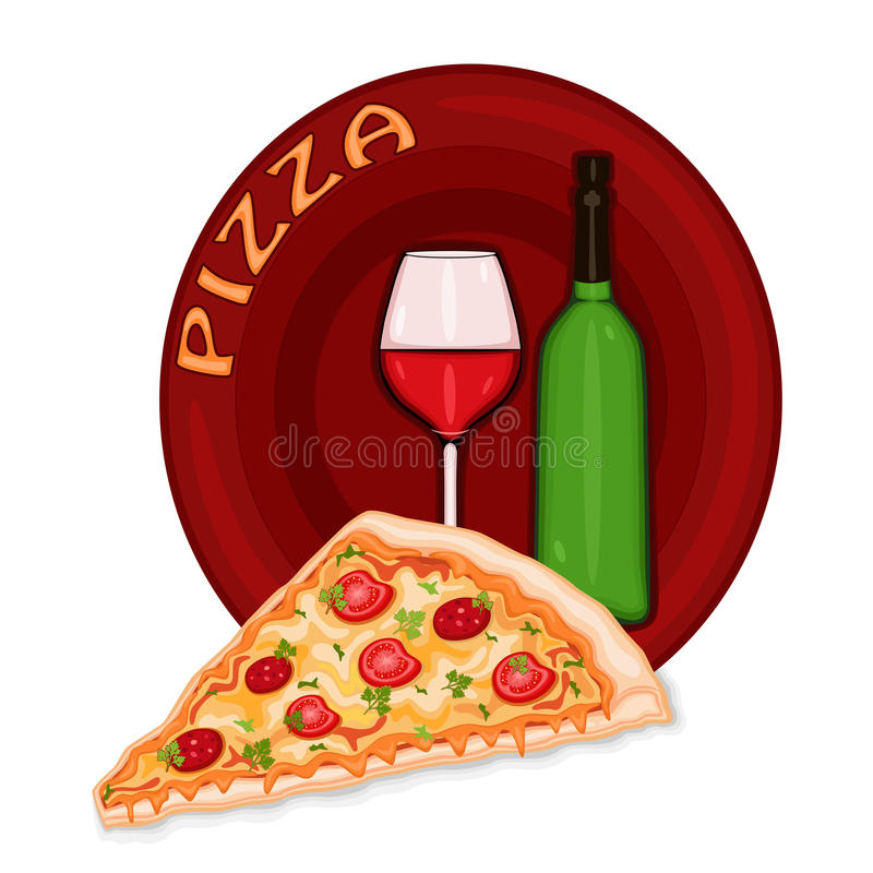 Pizza Icon. Slice of pizza icon with bottle and glass of red wine. Isolated over white background. Vector file saved as EPS AI8, no gradients, no effects, easy stock illustration