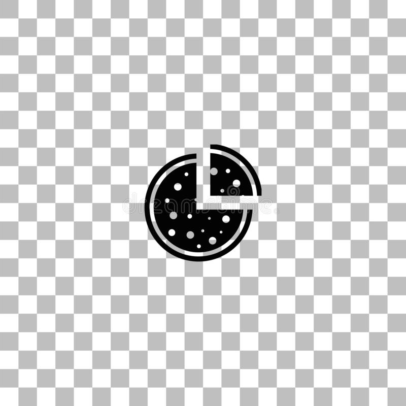 Pizza icon icon flat. Pizza icon. Black flat icon on a transparent background. Pictogram for your project vector illustration