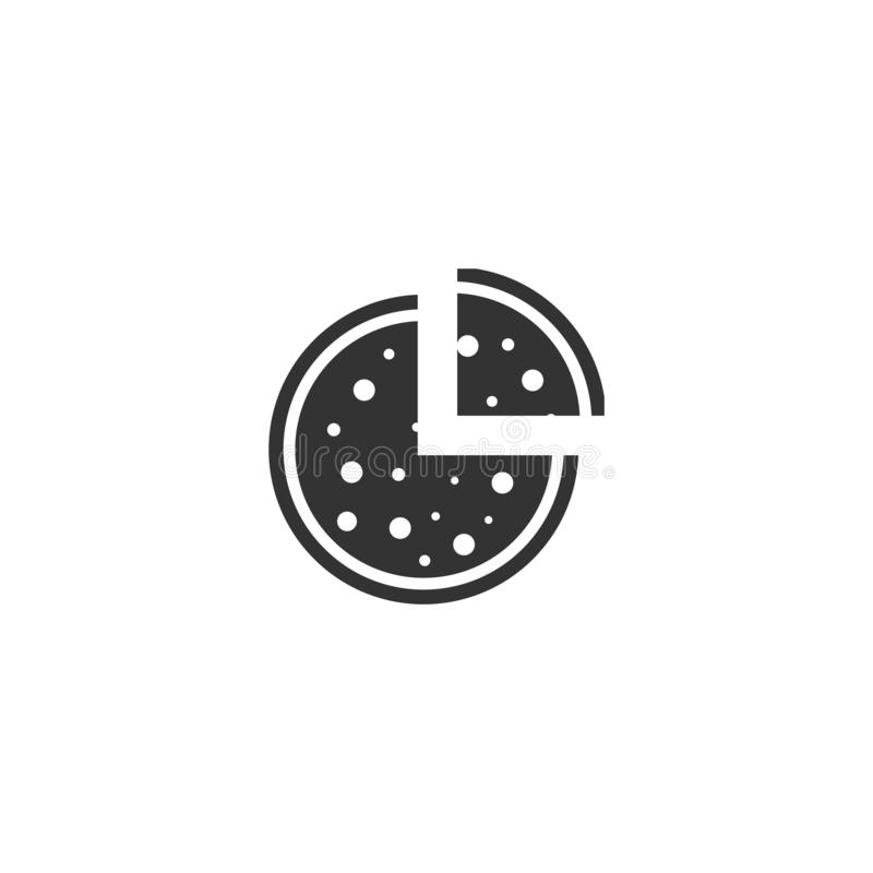 Pizza icon icon flat. Pizza icon. Black Icon Flat on white background stock illustration