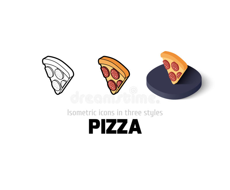 Pizza icon in different style vector illustration