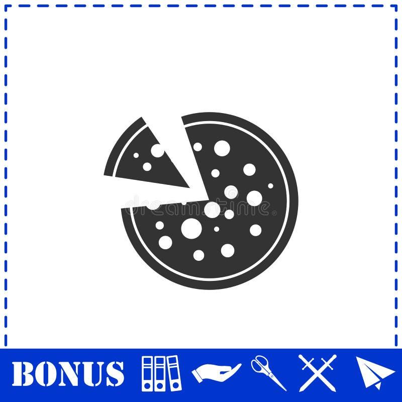 Pizza icon icon flat. Simple vector symbol and bonus icon royalty free illustration