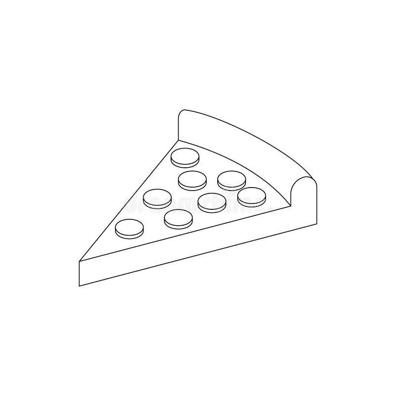 Pizza icon, isometric 3d style stock illustration