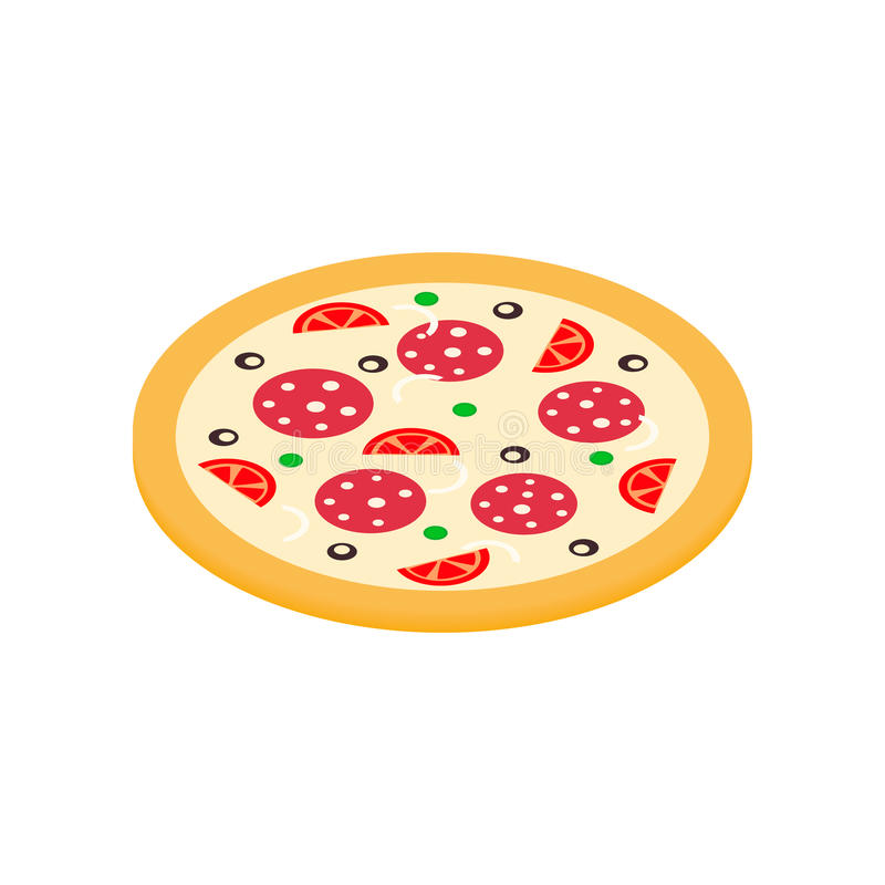 Pizza icon in isometric 3d style royalty free illustration