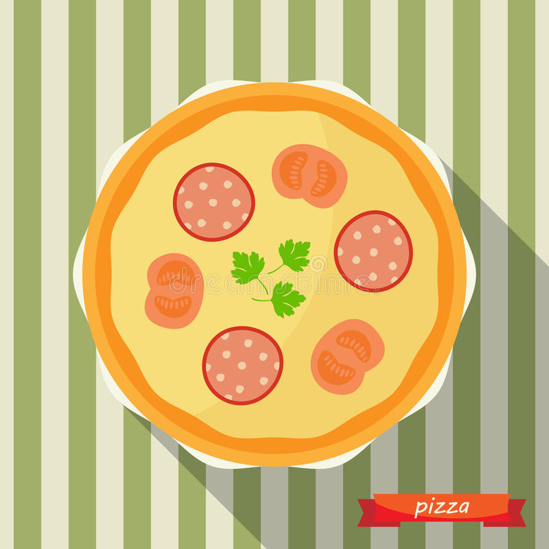Pizza icon with long shadows. Vector illustration, flat icon, design element vector illustration