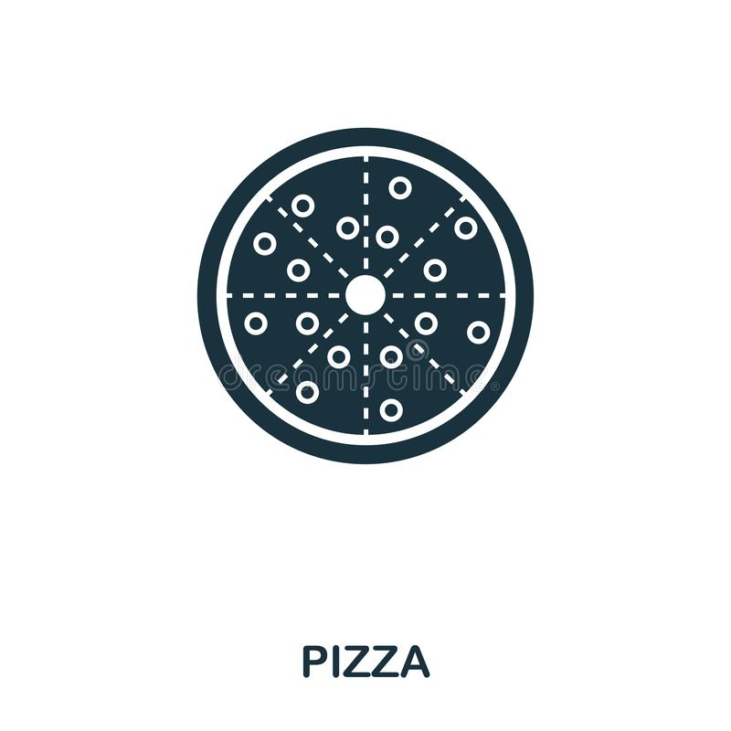 Pizza icon. Mobile apps, printing and more usage. Simple element sing. Monochrome Pizza icon illustration. Pizza icon. Mobile apps, printing and more usage stock illustration