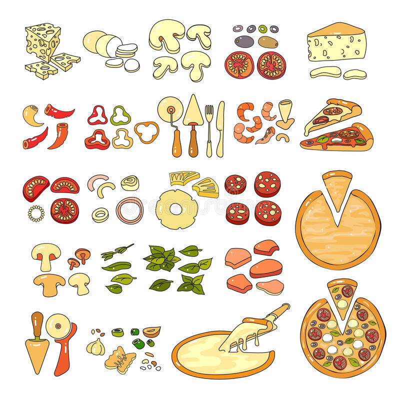 Pizza icon. Set of pizza ingredient icons. Vector illustration. Pizza icon. Set of cute various pizza ingredient icons. Vector illustration. Colorful vegetable vector illustration