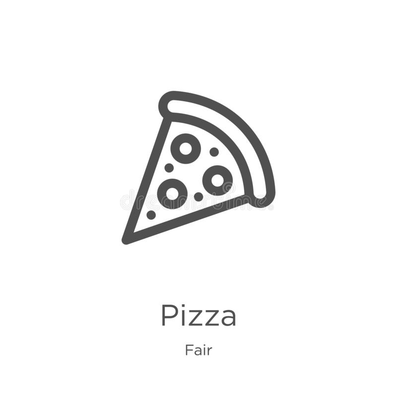 pizza icon vector from fair collection. Thin line pizza outline icon vector illustration. Outline, thin line pizza icon for vector illustration