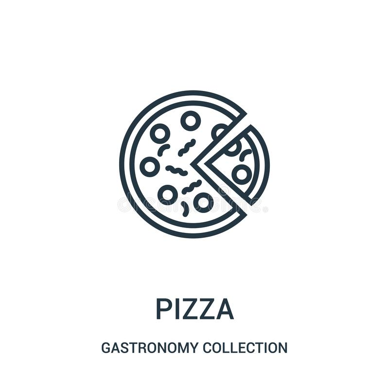 pizza icon vector from gastronomy collection collection. Thin line pizza outline icon vector illustration royalty free illustration