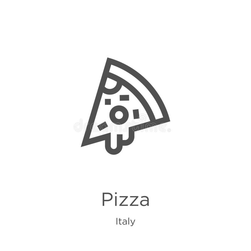 pizza icon vector from italy collection. Thin line pizza outline icon vector illustration. Outline, thin line pizza icon for vector illustration
