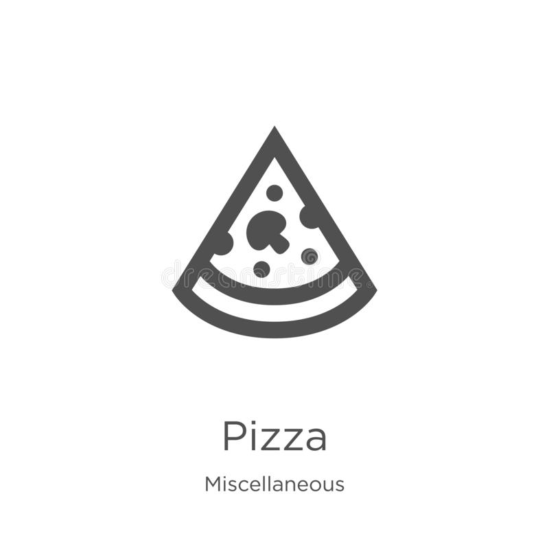 pizza icon vector from miscellaneous collection. Thin line pizza outline icon vector illustration. Outline, thin line pizza icon stock illustration