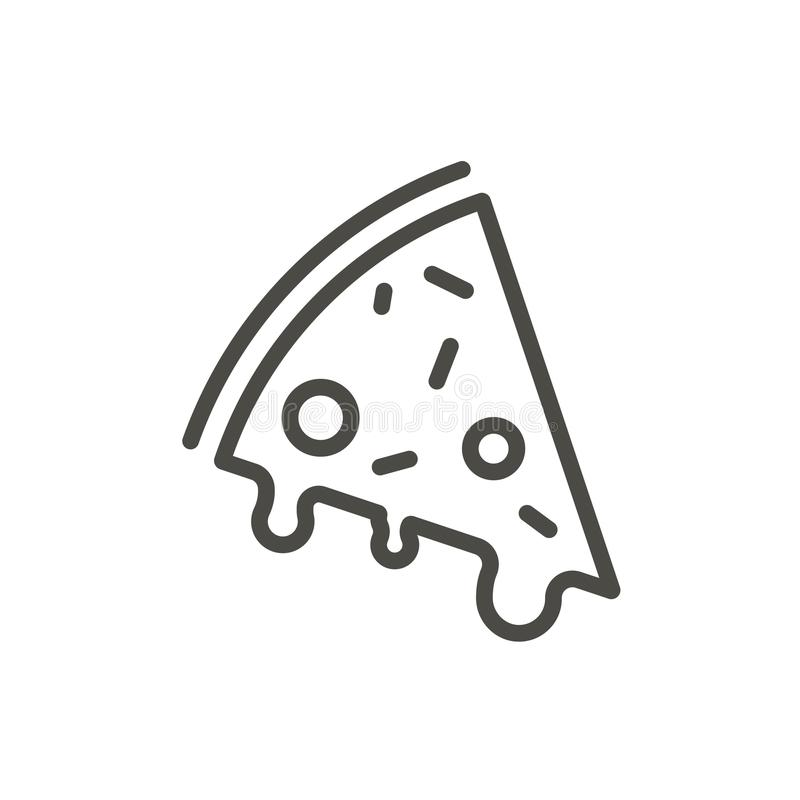 Pizza icon vector. Outline slice food, line pizza symbol. vector illustration