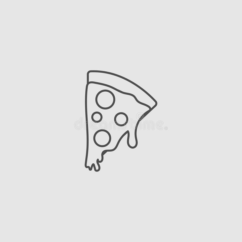 Pizza icon. Pizza, icon, vector, slice, food, meal, lunch, cheese, fast, pepperoni, illustration, white, cartoon, dinner, simple, restaurant, cuisine, italy royalty free illustration