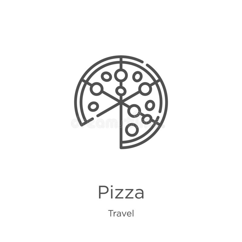 Pizza icon vector from travel collection. Thin line pizza outline icon vector illustration. Outline, thin line pizza icon for. Pizza icon. Element of travel vector illustration
