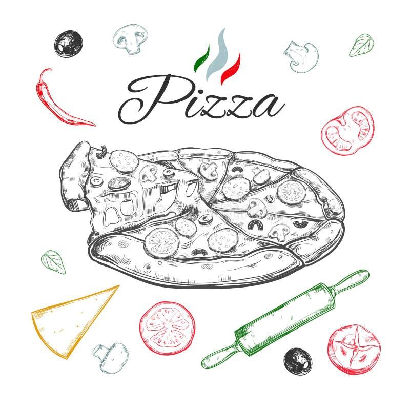 Pizza Illustrazione disegnata a mano di vettore Cucina italiana Stile di abbozzo royalty illustrazione gratis