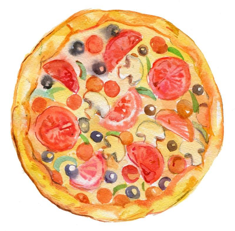 Pizza, ilustração da aquarela, alimento fotos de stock royalty free