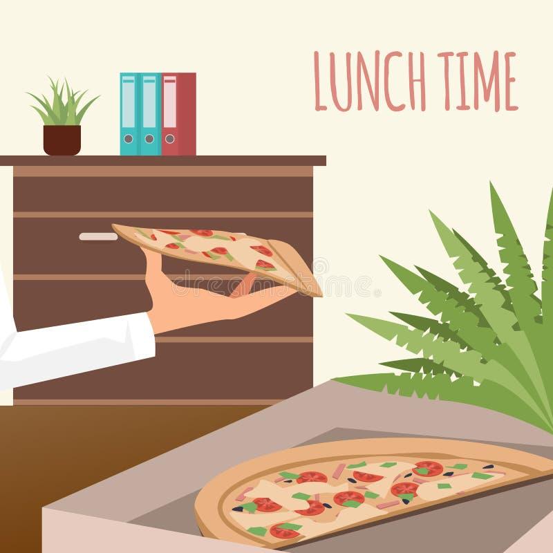Pizza im Lieferungs-Kasten an der Büro-Arbeitsplatz-Fahne stock abbildung