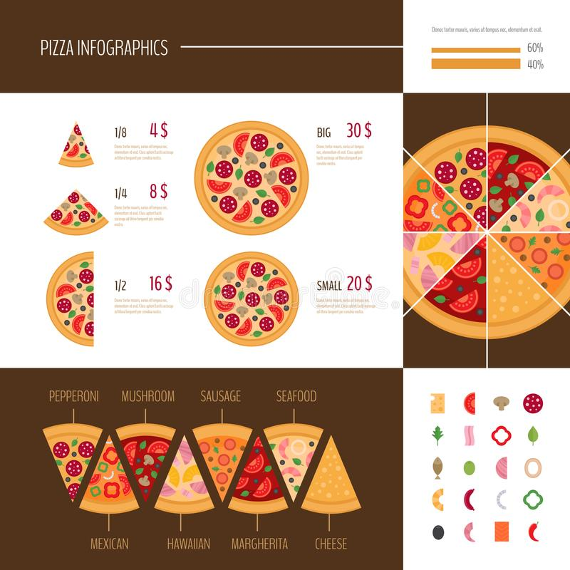 Pizza infographic. Pizza slice. Fast food infographics. Vector illustration. stock illustration