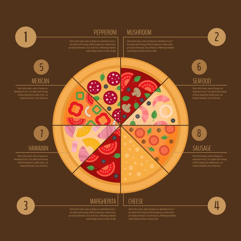 Pizza infographic. Flat style. Fast food infographics. Vector illustration. royalty free illustration