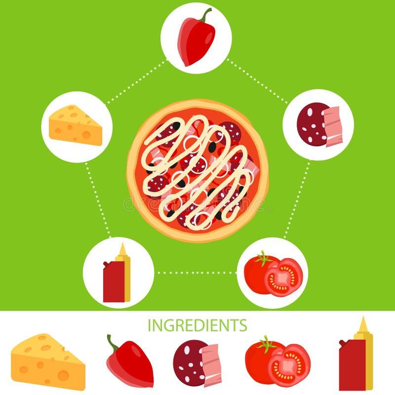 Pizza ingredienser av pizza royaltyfri illustrationer