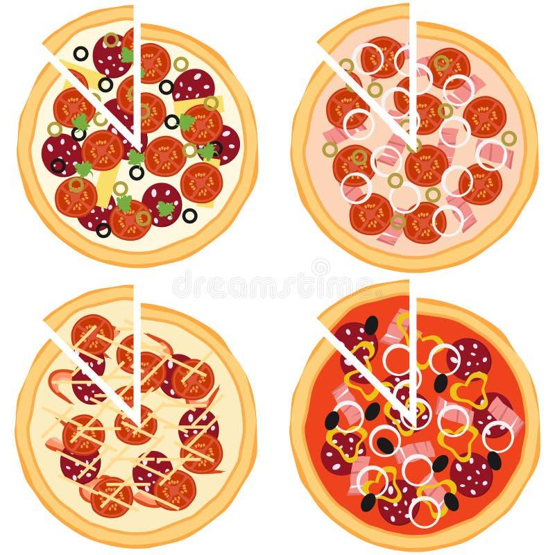 Pizza, ingredienti di pizza illustrazione vettoriale
