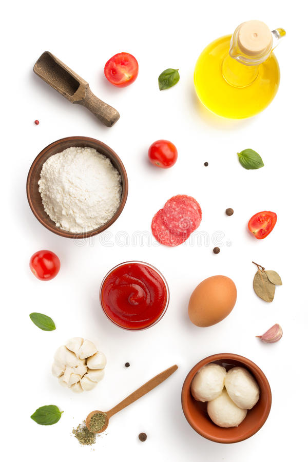 Pizza ingredients isolated on white. Background stock photo