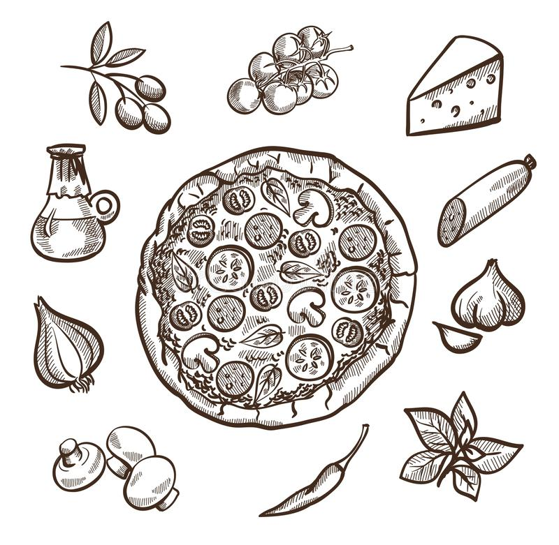 Pizza and ingredients. Set of images with pizza in the center and ingredients for pizza around stock illustration