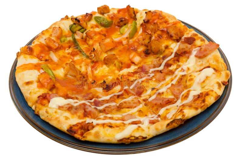 Pizza isolada no fundo branco fotografia de stock royalty free
