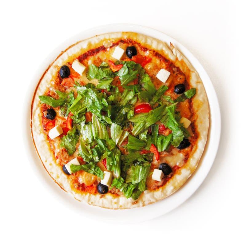 Pizza isolata dalla cima immagini stock