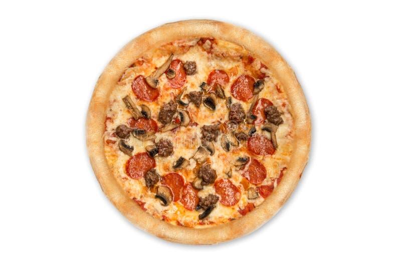 Pizza isolata su priorit? bassa bianca Vista superiore immagini stock libere da diritti