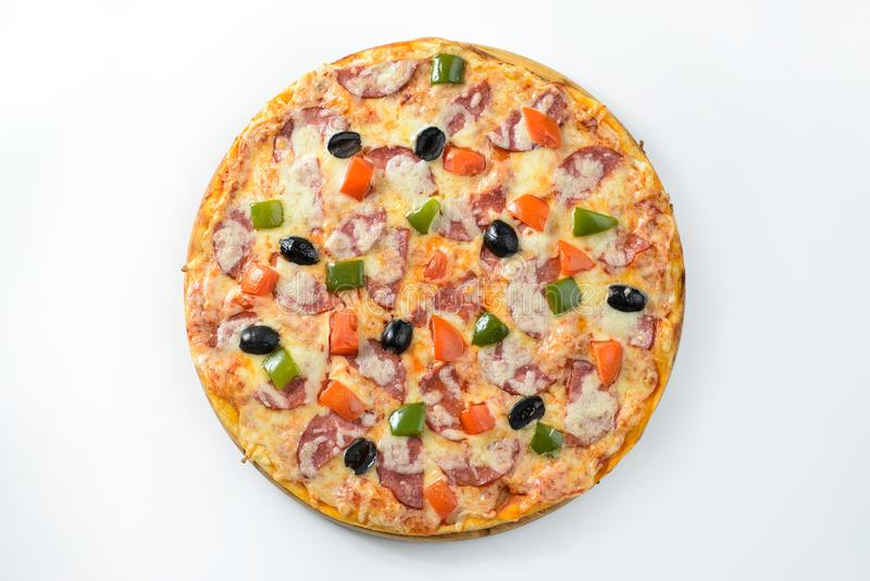 Pizza isolated on wite. Whole hot Pizza isolated on wite background stock image