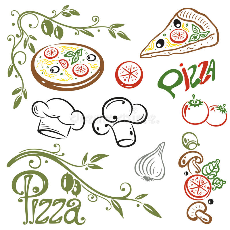 Pizza, italian food. Pizza and italian food, colorful vector set stock illustration