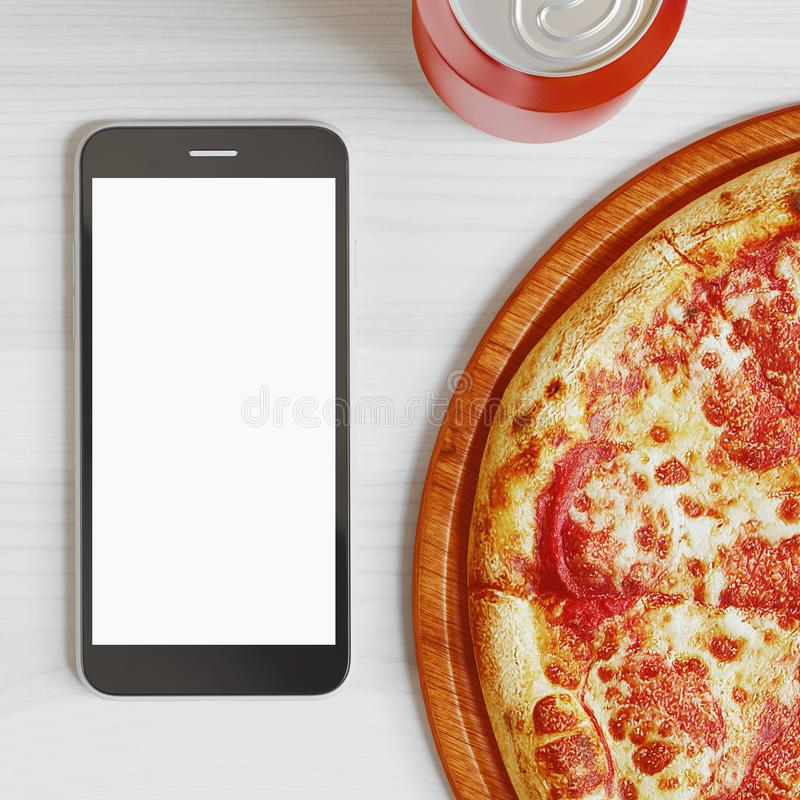 Pizza, Italian food delivery, call or order online on mobile, cellular, smart phone. 3d rendering vector illustration