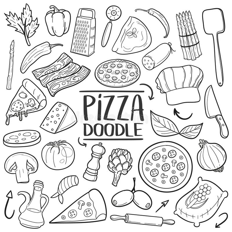 Pizza Italian Food Traditional doodle icon hand draw set vector illustration