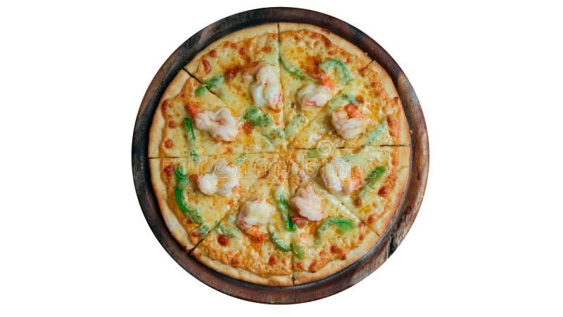 Pizza italiana dei frutti di mare su bianco immagine stock libera da diritti