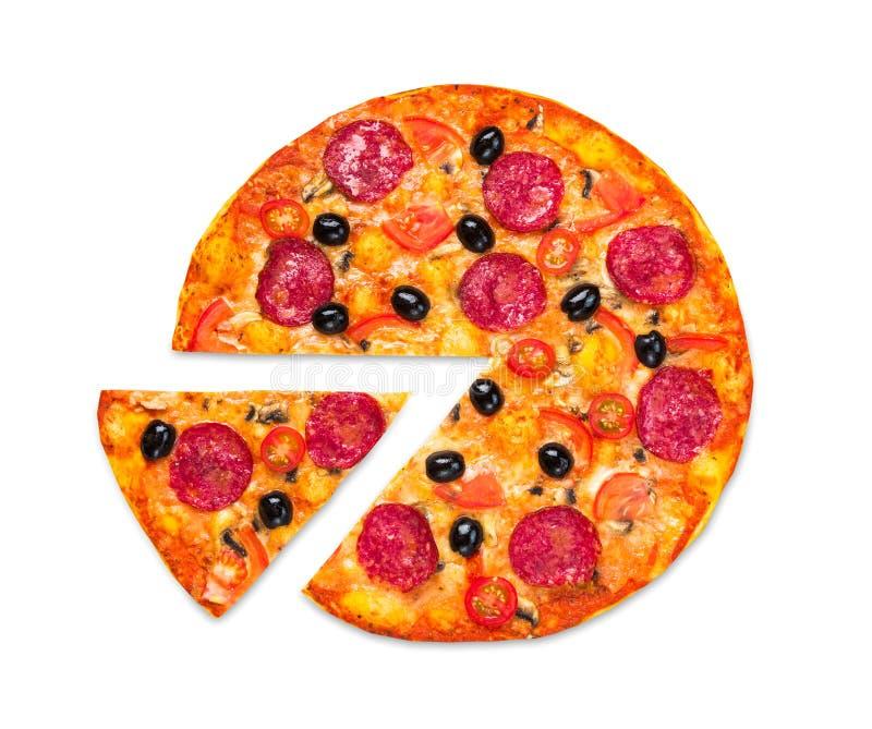 Pizza italiana deliciosa con el salami, opinión superior sobre blanco imágenes de archivo libres de regalías
