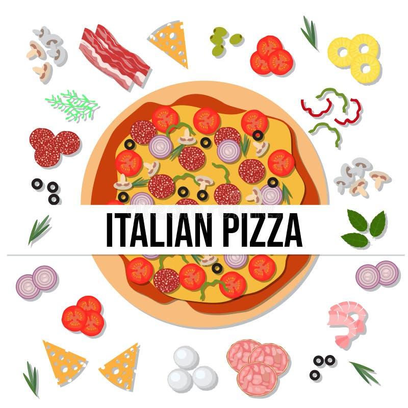 Pizza italiana deliciosa de la visión superior libre illustration