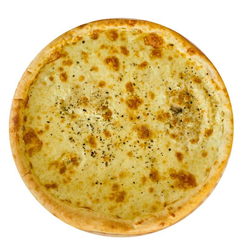 Pizza italiana deliziosa con formaggio su una tavola di legno isolata immagine stock