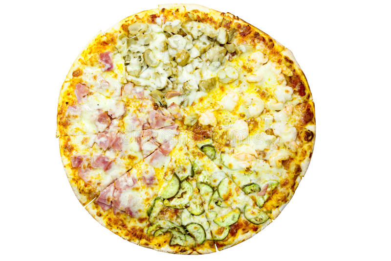 Pizza italiana deliziosa sopra bianco fotografia stock libera da diritti