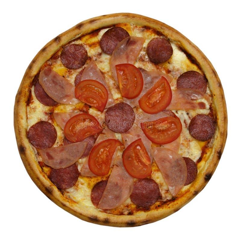 Pizza italiana deliziosa sopra bianco immagine stock libera da diritti