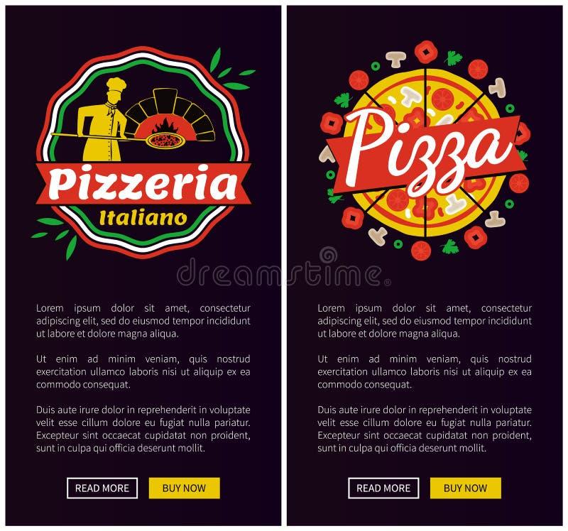 Pizza italiana di migliori pagine Web di verticale di qualità illustrazione vettoriale