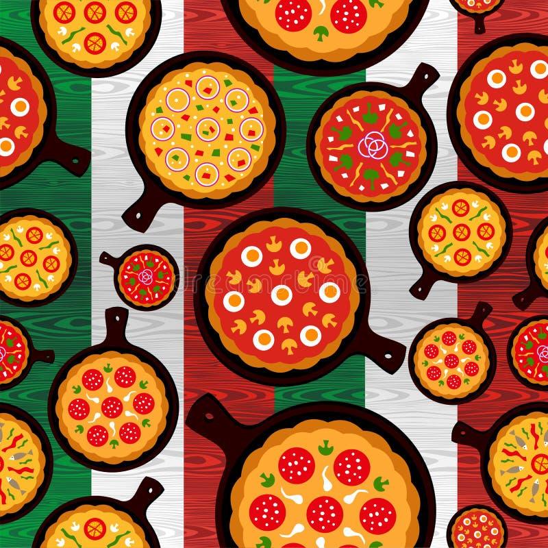 A pizza italiana flavors o teste padrão ilustração do vetor
