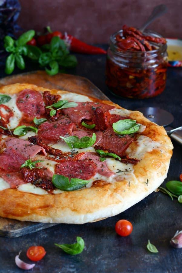 Pizza italiana fresca tradicional con los tomates de cereza secados de la mozzarella de los tomates del salami y las hojas verdes imagen de archivo libre de regalías