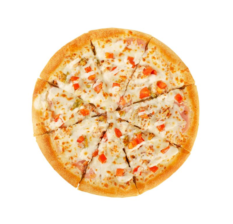 Pizza italiana hecha en casa sabrosa en una pasta gruesa imagen de archivo libre de regalías
