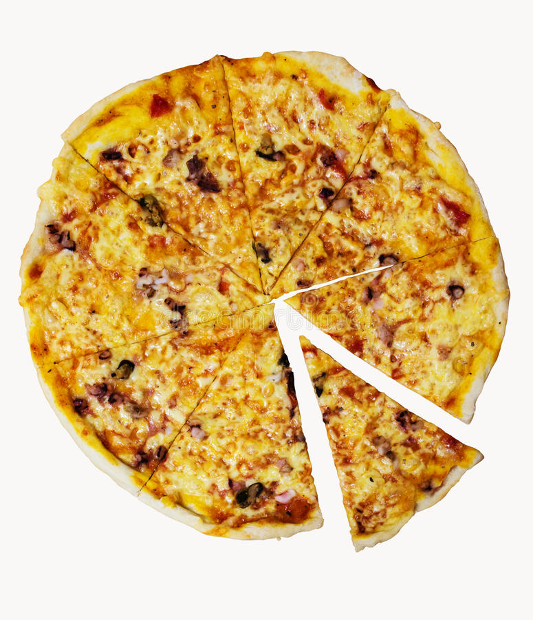 Pizza italiana real isolada em um fundo branco fotografia de stock royalty free