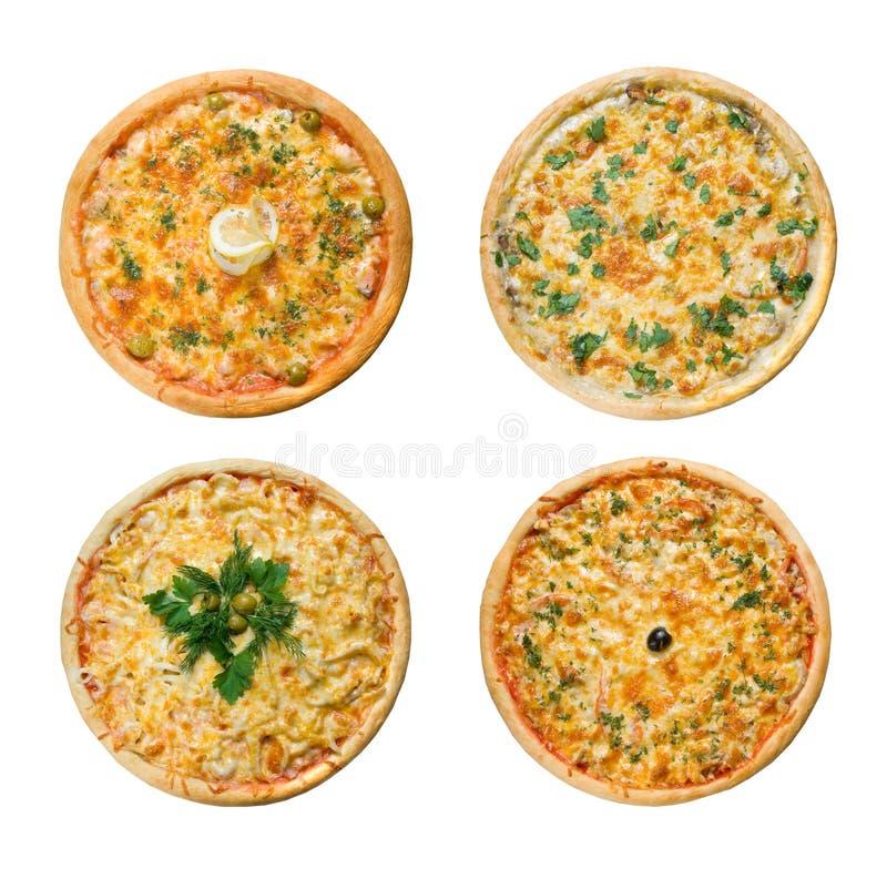 Pizza italiana saboroso. Isolado fotos de stock royalty free