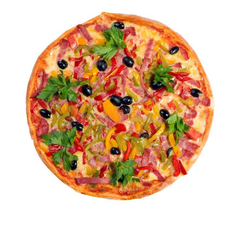 Pizza italiana saboroso. Neapolitan isolado imagens de stock