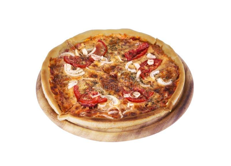 Pizza italiana saporita sopra bianco fotografie stock